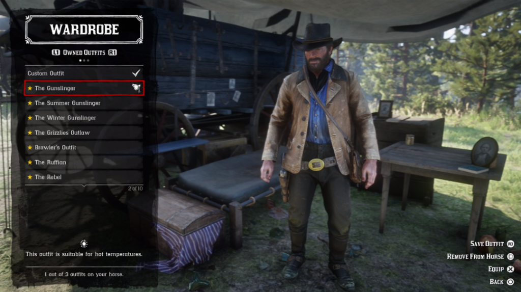 red dead redemption 2 outfit customisation menu