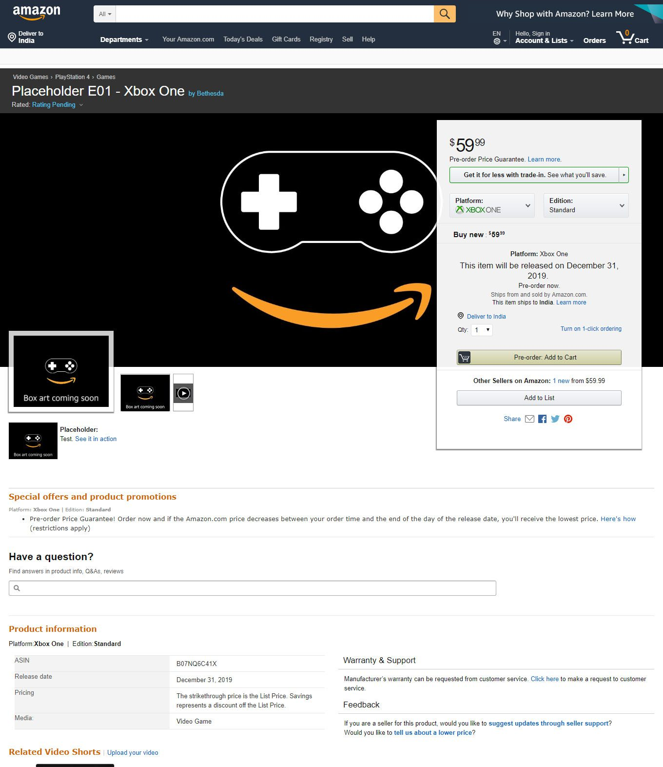 Amazon lists placeholder Bethesda Softworks title for PS4, Xbox One, and PC