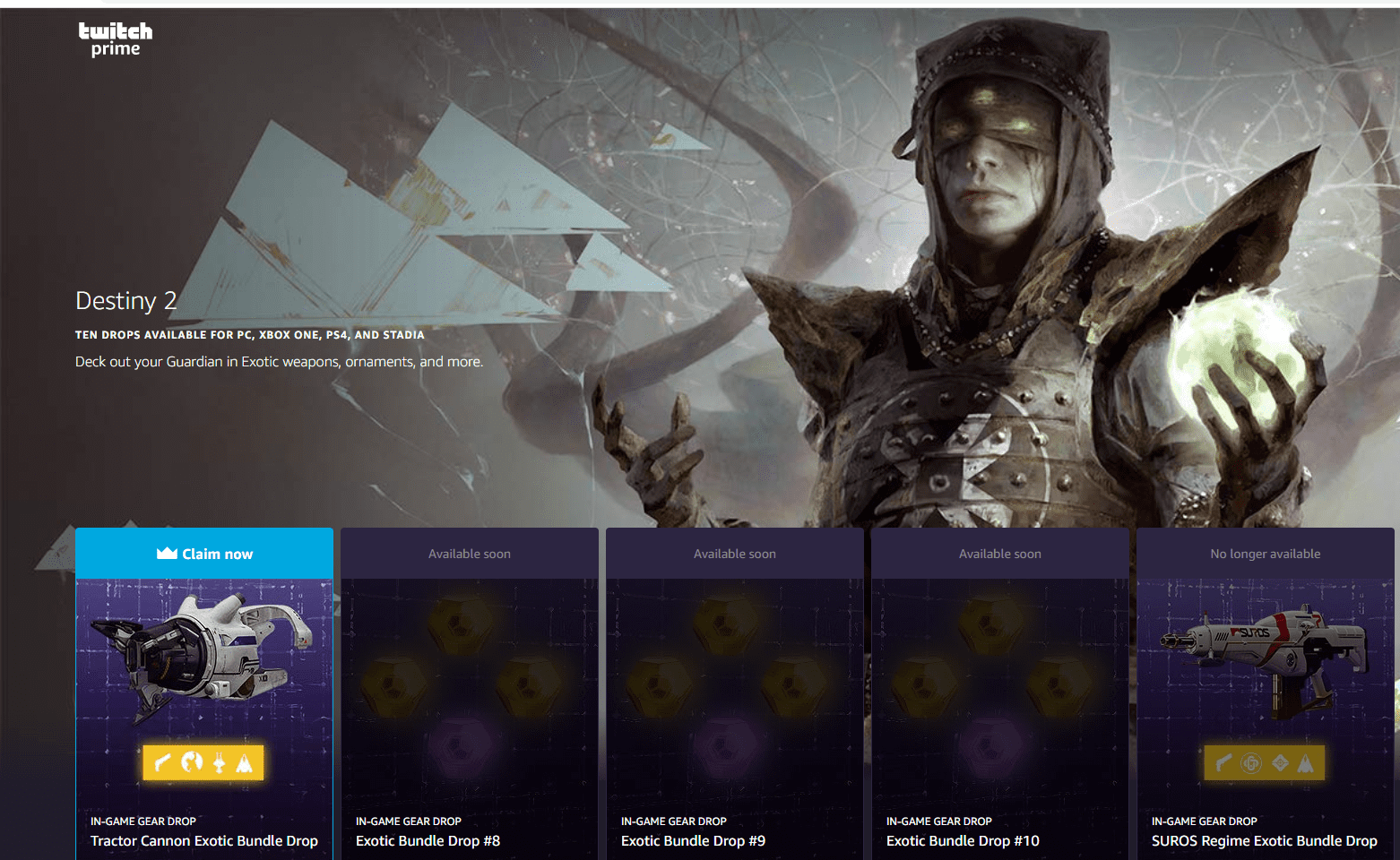 Destiny 8 Twitch Prime Rewards- What are the rewards and how to