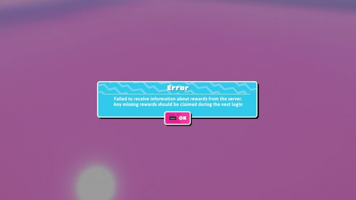 fall guys Failed to receive information about rewards from the server. Any missing rewards should be claimed during the next login